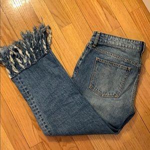 Rough hem cropped jeans